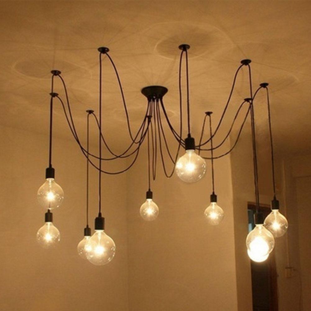 5 Lamps Vintage Lights Chandelier Loft Spider Lighting Ceiling Lamp 1.2M 10 lights creative fairy vintage edison lamp shade multiple adjustable diy ceiling spider pendent lighting chandelier 10 ligh