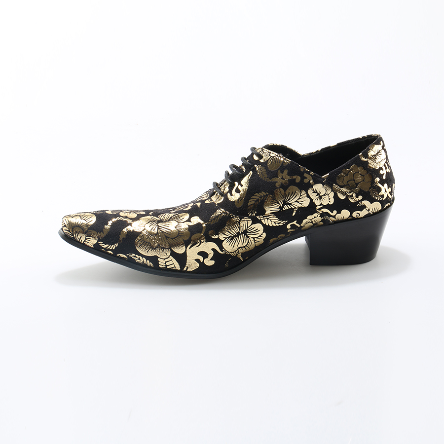 Chaussure as Saltos Apontou Estilo Ouro 1 Homme 2 Okhotcn Imprimir Sapatos Homens Toe Oxfords Couro Robustos As Macio Up Lace Pic Flor Moda p7661v