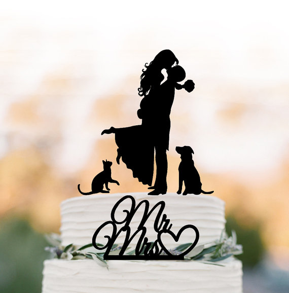 Couple With Cat Cake Topper
