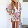 Women Summer Printed Jumpsuit Bodysuit Sexy Deep V Neck Lace Crochet Flare Half Sleeve Chiffon Rompers Playsuit Beachwear Shorts