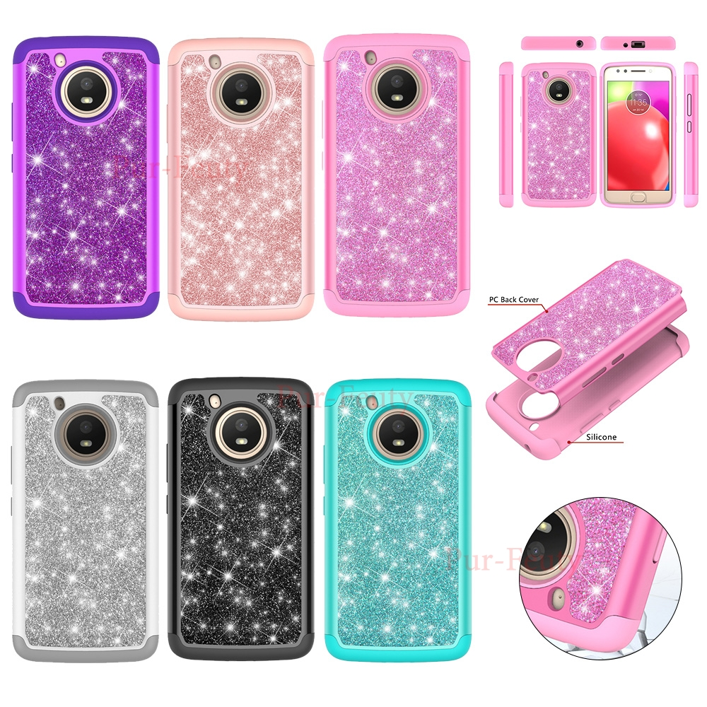 <font><b>Cases</b></font> for Motorola <font><b>Moto</b></font> <font><b>E4</b></font> XT1767 XT1766 Bling TPU+PC Luxury Glitter Girls Shockproof Protective For <font><b>Moto</b></font> 4 <font><b>XT1761</b></font> XT1762 XT1765 image