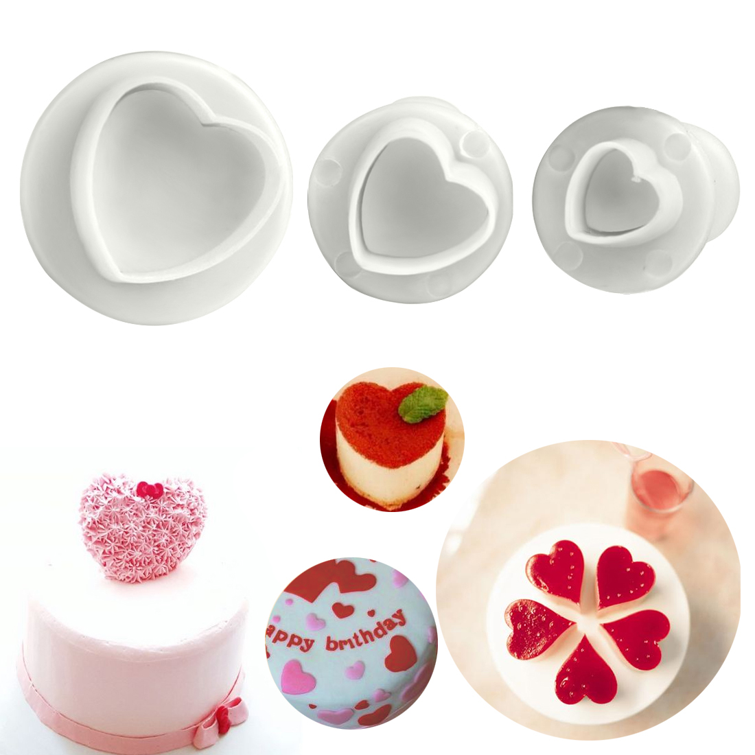 5 Type Fondant Cake Decoration Sugarcraft Plunger Cutter Tool Cooking Mold Mould