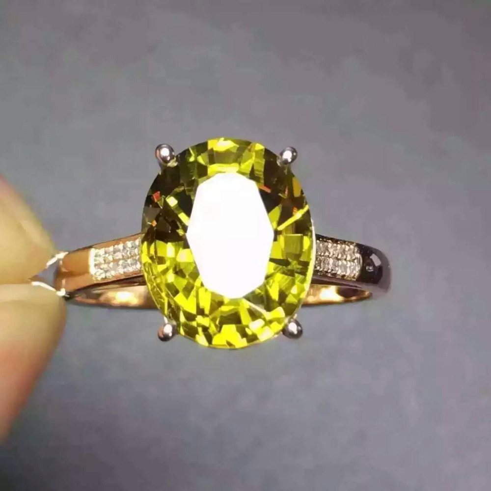 Natural 5 3ct yellow tourmaline Ring Natural gemstone Ring 18k white gold trendy diamond Elegant big