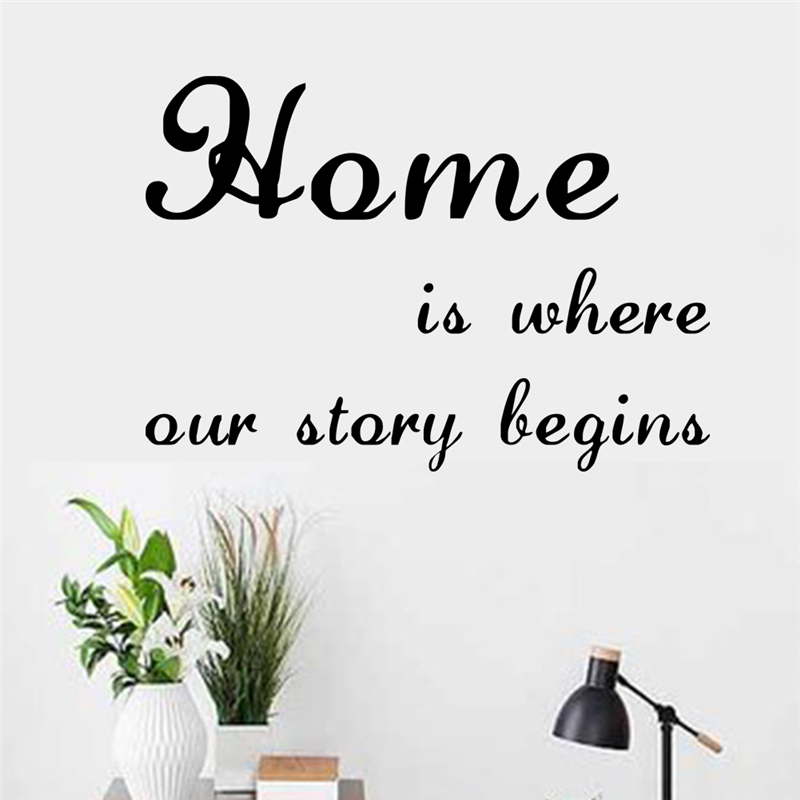 Home Is Where Our Story Begins Quotes Home Decoration Wall Stickers