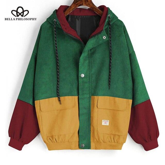 Bella Philosophie farbe block Langarm Cord Frauen jacke Patchwork Herbst frauen Jacke plus größe frauen taste weiblichen mantel