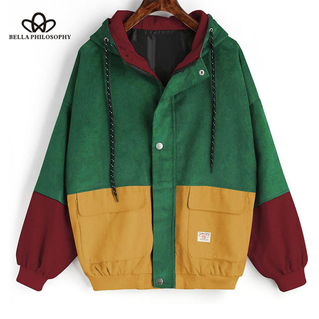 Bella Philosophy color block Long Sleeve Corduroy Women jacket Patchwork Autumn women Jacket plus size women button female coat