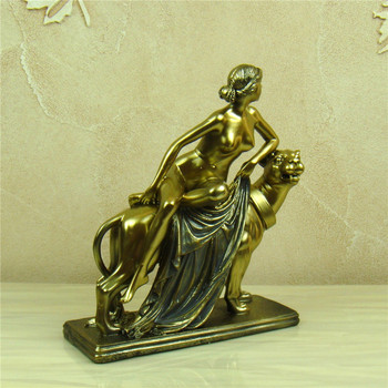 Nude Female Character On Panther Handmade Resin Sculpture 1