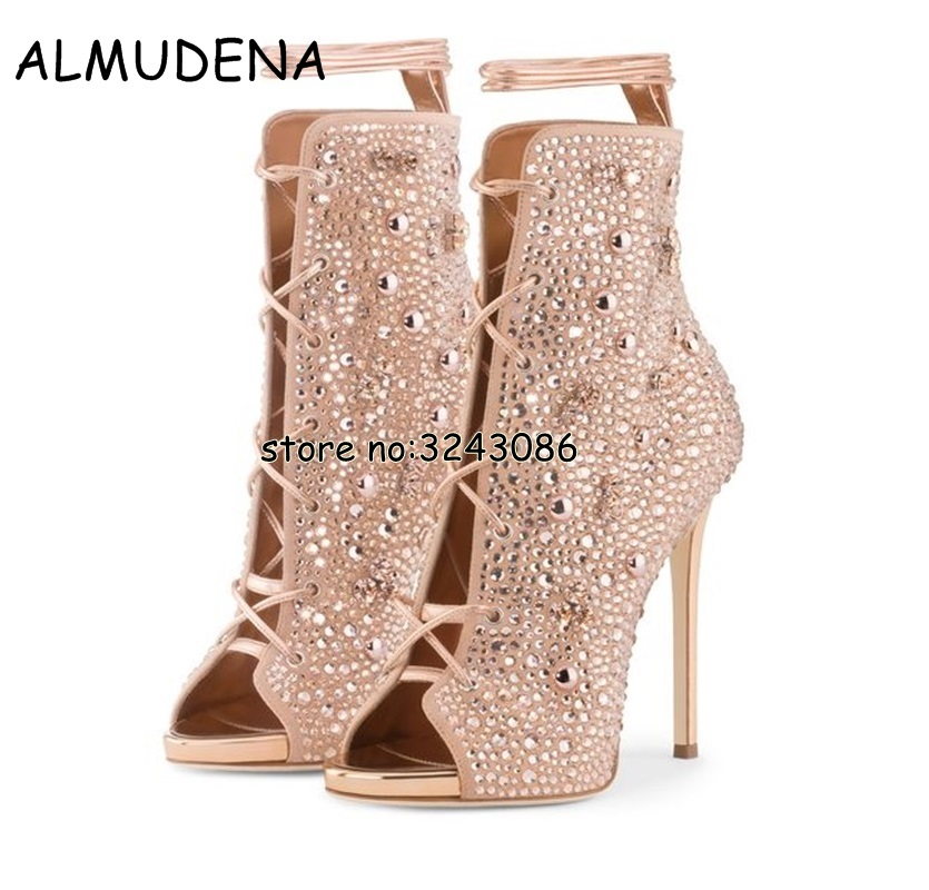 Lace Up Women Stiletto Rhinestone Ankle Booties Cut-outs Peep Toe Thin High Heels Boots Shoes Rome Style Sandals Boots Shoes crocodile leather women stiletto high heels peep toe sandal boots lace up white black leather thin heels ankle booties shoes