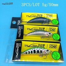 NEW TSURINOYA DW63 3PCS/LOT 50mm/5g Sinking Minnow Hard bait Fishing Lures Mini Crankbait Treble hook Artificial