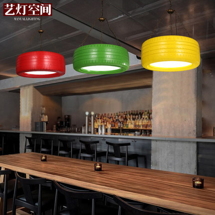Color The Tire Vintage Pendant Light Loft Restaurant Hanging Lamp Creative Studio Pendant Lamp Personality Bar Art Deco Lighting