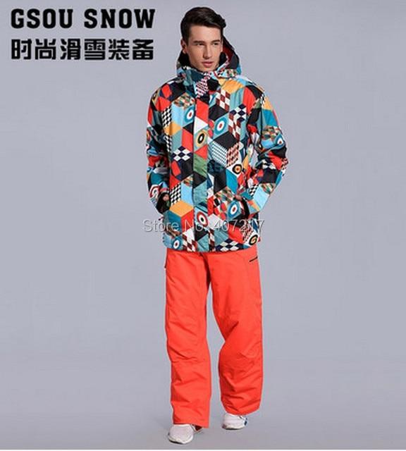 2017 new mens skiing suit snowboarding suit for men male magic cube ski  jacket +orange red ski pants skating suit skiwear 763188387