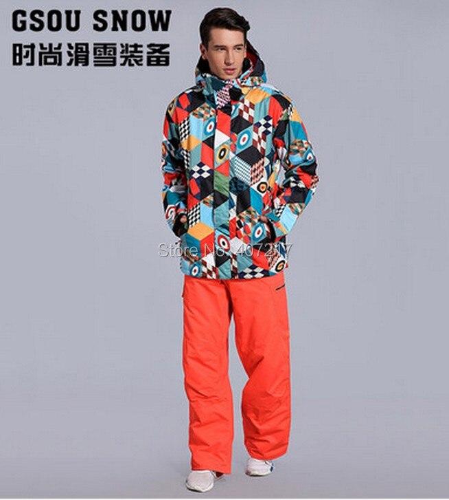 2017 nouveau costume de ski pour hommes costume de snowboard pour hommes veste de ski magic cube + pantalon de ski rouge orange costume de patinage vêtements de ski