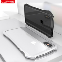 LUPHIE For IPhone X Case Cover Luxury Slim Hard Metal Aluminum Frame Ultra Thin Protective Phone