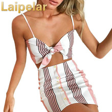 Laipelar Fashion Womens Set 2 Pcs Summer Beach Bow Stripe Halter V Neck Vest Tops Button High Waist Mini Skirts Two Piece