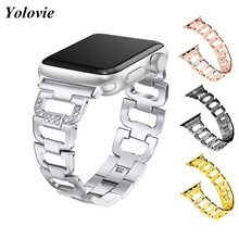 Yolovie Stainless Steel Band For Apple Watch 40mm 44mm Series 4 Diamond Metal bracelet For iwatch 38mm 42mm Series 3 2 1