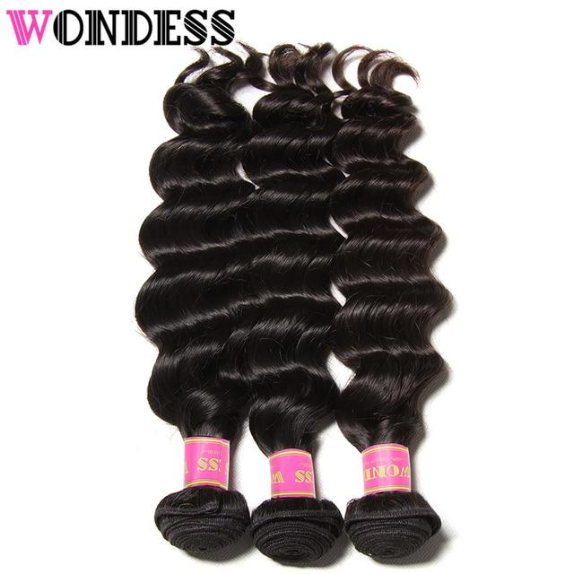 Wondess Hair Raw Indian Hair Natural Wave 3pcs Virgin Hair Extension