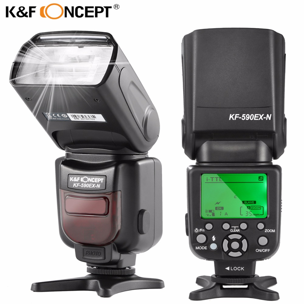 K&F CONCEPT KF590EX-N Flash Speedlite i-TTL TTL GN56 Slave 2.9S Recycle Flash Light for Nikon DSLR Cameras D7100 D5300 D5200 spash sl 685c gn60 wireless master slave flash light ttl speedlite for nikon lcd screen cameras flash adjustable fill light