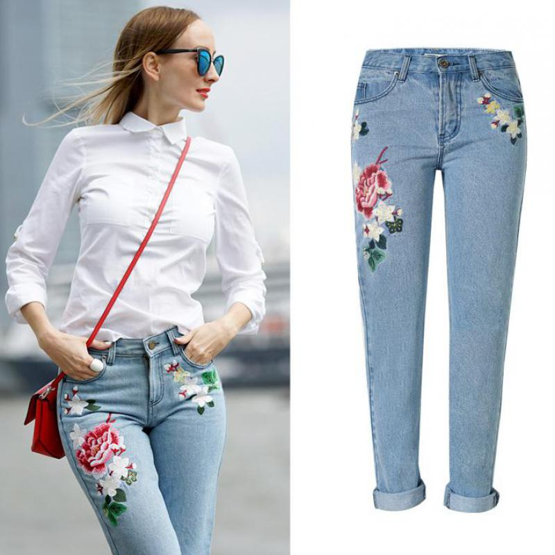 Buy Mom Jeans Femme Women Embroidery Floral Light Blue Jeans Tumblr 2017