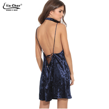 Velvet Party Dresses Women Spring Summer Backless Mini Dress Apricot Crushed With Neck Tie Cami Dress 2017 evening vestidos 8740