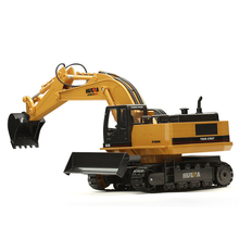 Huina 510 wireless remote control alloy excavator simulation children charging electric toy mining engineering vehicle model engineering vehicle mechanical group electric remote control bulldozer excavator toy boy assembly building blocks birthday toys