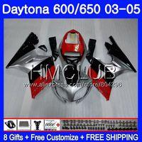 Body For Triumph Daytona600 Daytona 650 02 03 04 05 125HM.4 Daytona650 Red silvery Daytona 600 2002 2003 2004 2005 Fairing kit