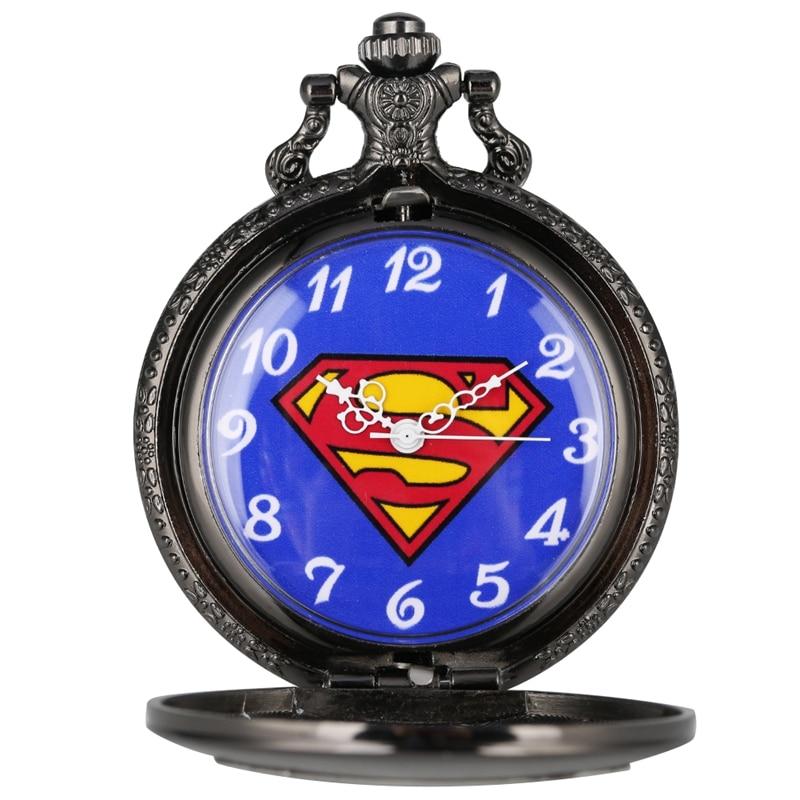 Retro Black Pokemon Classic Comic Superman Quartz Pocket Watch Necklace Pendant Chain Meaningful Best Gifts For Kids Men Women