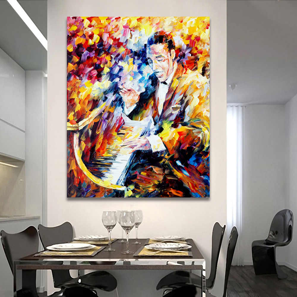 Palette Knife Printed On Canvas Painting Musician Saxophone Piano Music Wall Picture for Living Room Bedroom Decoration