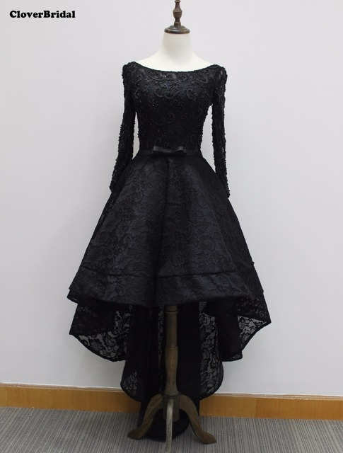 Real Photos In Stock Cheap Scoop Neckline Beaded Lace Black Long
