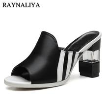 2018 Women Genuine Leather Slipper Platform High Heels Sandals Ladies Shoes Thick Heel Casual Slippers Fashion Styles YG-B0117