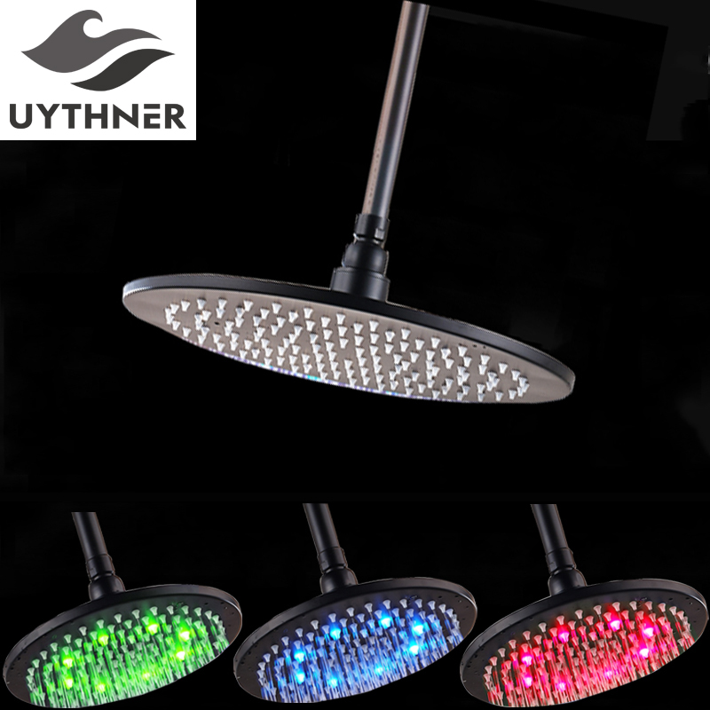 Uythner New Style Free Shipping 12 Inch Oil Rubbed Bronze Rain Shower Head Wall Mounted Top Shower Head with LED black oil rubbed bronze wall mounted toothbrush holder with two ceramic cups wba143