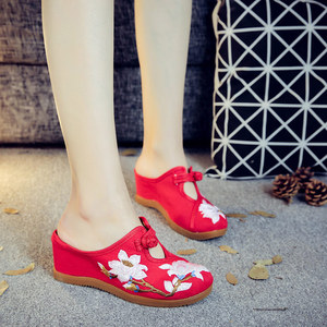 Image 5 - Veowalk Flower Embroidered Women Canvas Mules Wedge Slippers Slip on Close Toe Elegant Ladies Casual Summer Cotton Heeled Shoes