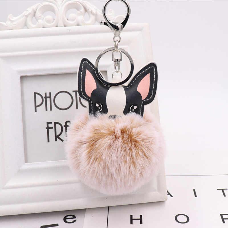 Adorável Bulldog Fulffy Pompom Pele De Coelho Animal Da Corrente Chave Chave Anéis de Couro PU Mulheres Bolsa Trinket como Lembrança