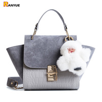 Chain Vintage Patchwork Crocodile Nubuck Leather Bags Handbags Women Famous Brand Trapeze Handbag Women Crossbody Messenger