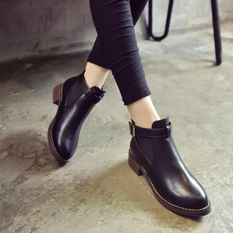 Black Shoes For Women Chunky Leather Women Leather Ankle Boots Autumn Thick High Heel Martin Boots Winter Shoes Boot Size 35-40 whitesun plus size boots women martin boots autumn winter shoes female ankle boots buckle retro style chunky heel short boots