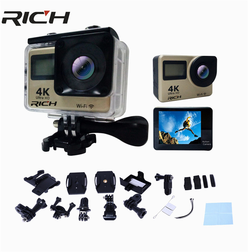 RICH T350 ultra FHD 4K Action Camera WiFi 1080P 60fps 2.0 touch HD 170D Full HD 30M Waterproof Video Action DV Sports Camera original ruisvin s30a 4k wifi full hd 1080p 60fps 2 0 lcd action camera 30m diving go waterproof pro camera ultra hd sports cam