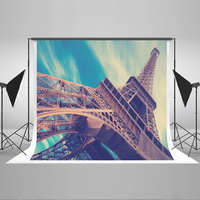 Kate 7x5 Backdrop For Photography Cotton Eiffel Tower Blue Sky Outdoor Scenic Background For Studio Photography