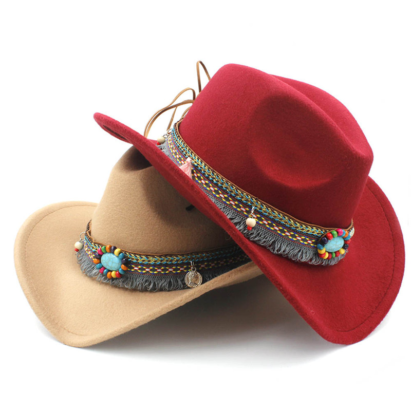 a106317a73f Child Wool Hollow Western Cowboy Hat with Fashion Tassel Belt for Kids Girl  Jazz Cowgirl Sombrero