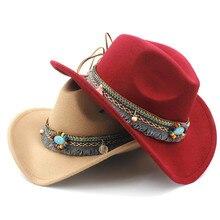 Lana niño hueco Sombrero de vaquero occidental con la correa de la borla de  la manera para los niños chica Jazz vaquera Sombrero. 941b863e4d2
