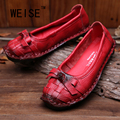 2016 Spring And Autumn Personality Vintage Handmade Pigskin Flat Shoes Peas Shoes Soft Comfortably Flowers Casual Shoes