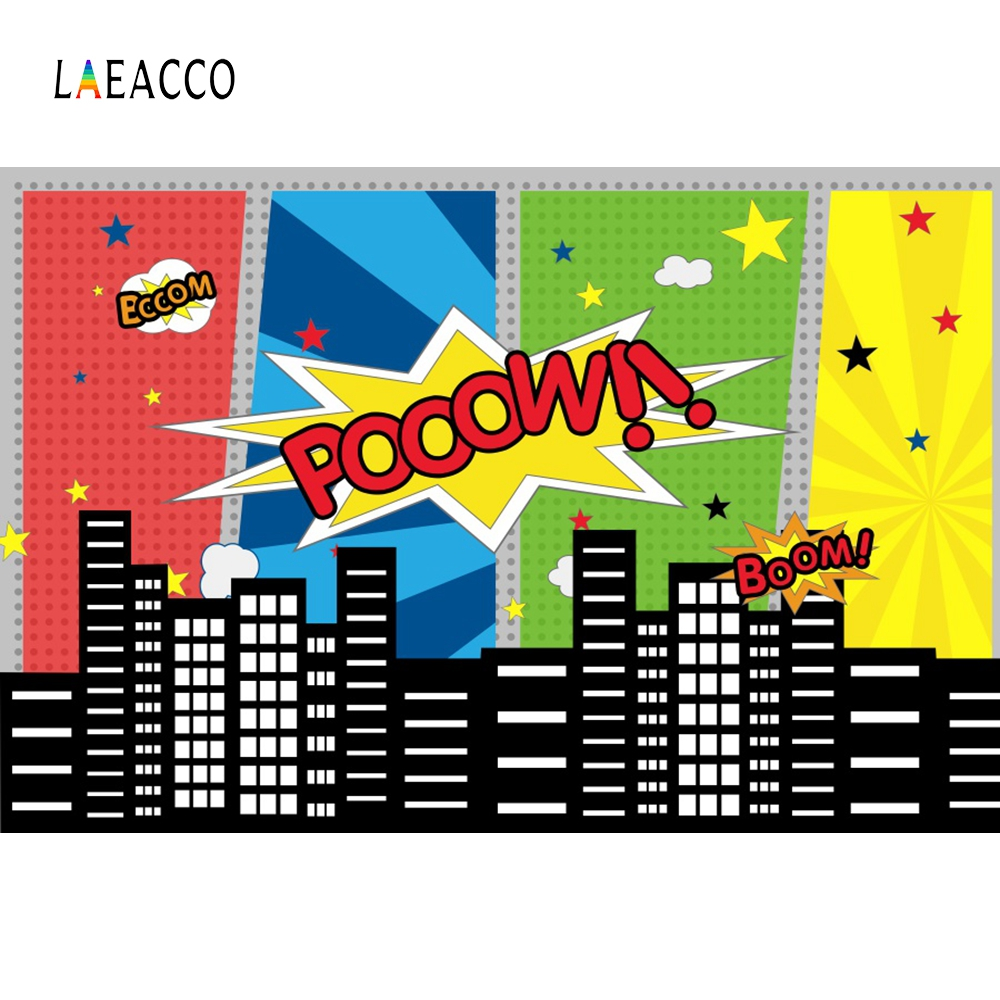 Laeacco Cartoon Graffiti City Wall Superhero Portrait Scene Photography Backgrounds Vinyl Photographic Backdrop For Photo Studio