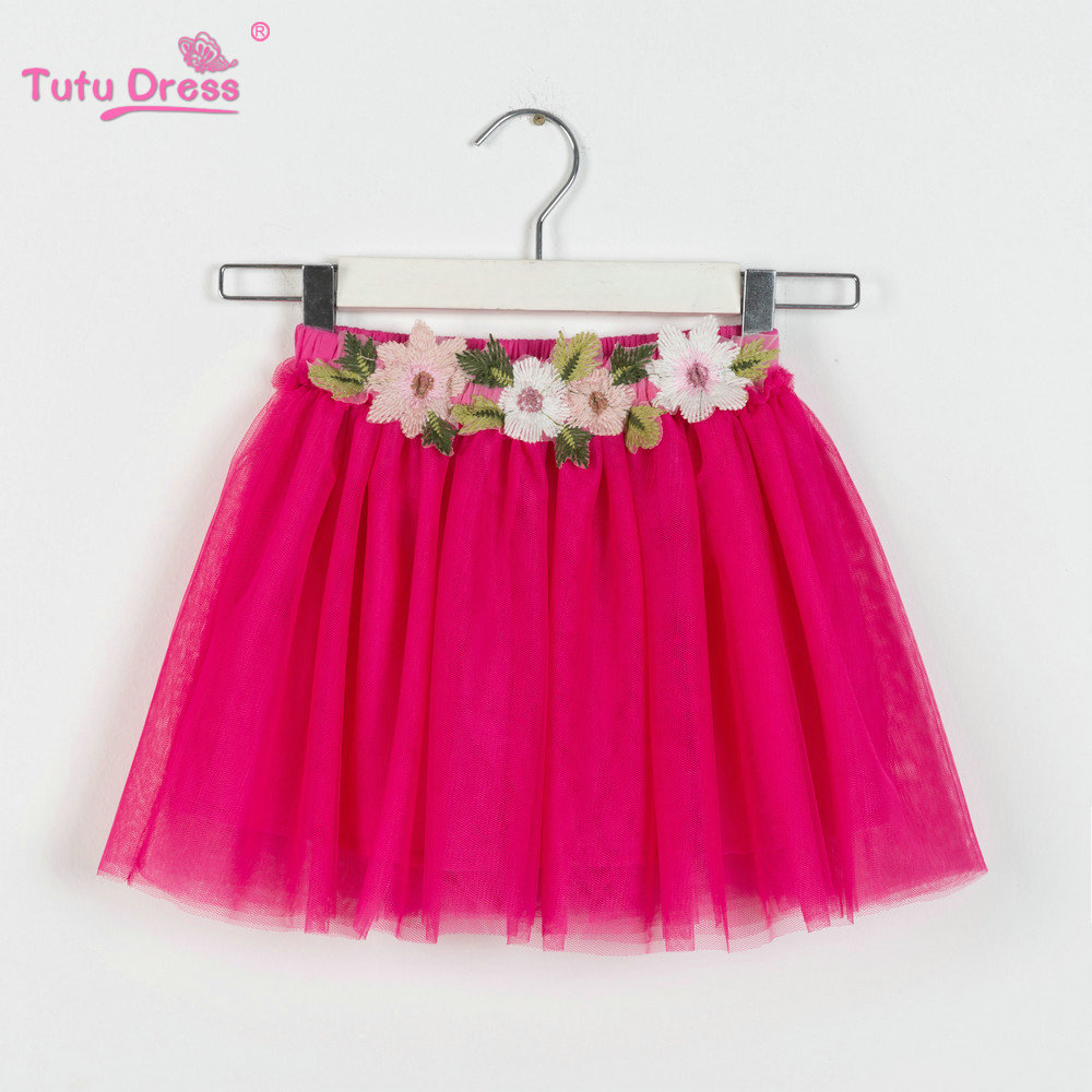 New Girls Mini Skirts Floral Lace Solid Color TuTu Skirts Baby Flower Princess Party Skirt For 2-12 Years Children Skirt solid color empire waist mermaid skirt