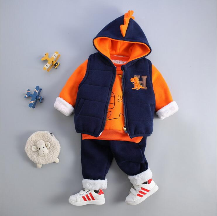 ФОТО Long Sleeve Kids Clothes Boys Plus Velvet Three-piece Ensemble Garcon Lovely Style Baby Christmas Outfits Winter Overalls