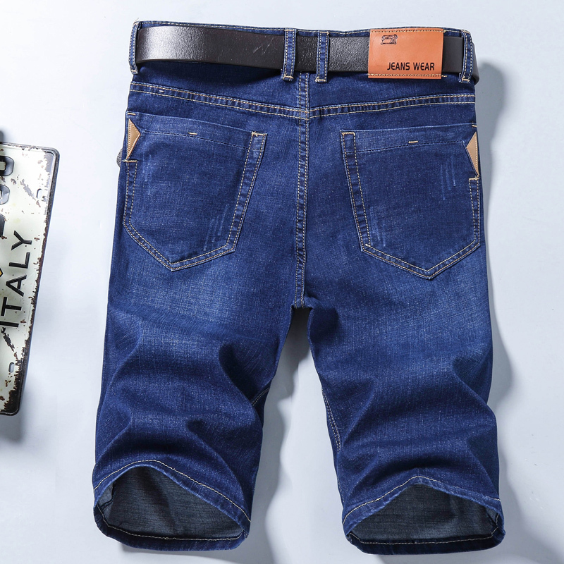 2019 Summer New Men's Denim Shorts Fashion Slim Fit Elastic Cotton Blue Wash Ripped Jeans Male Brand Clothes Plus Size 28-40