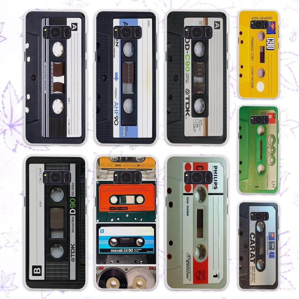 vintage Magnetic tape Cassette audio tape design hard White Case for Samsung Galaxy S8 Plus S8 s6 s7 edge s4 s5 mini note 5 4