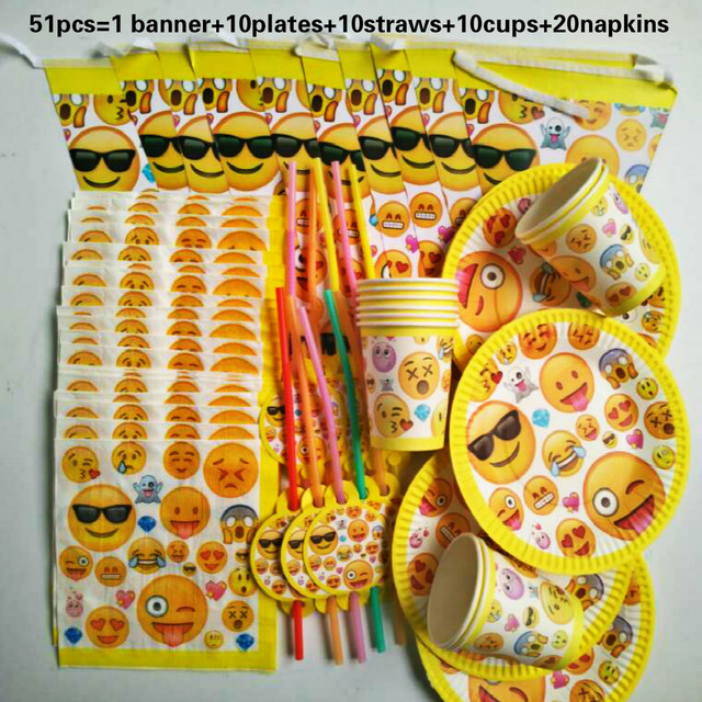 New Arrival 51 Pcs Lot Quality Emoji Theme Kids Happy Birthday Party Decoration Set Baby Boy Suppliers