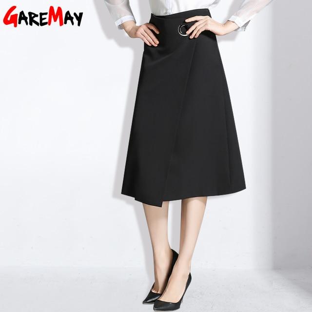 Largo negro oficina faldas primavera un line falda para las mujeres de la manera ropa de gran tamaño saias longas casuais elegante falda garemay