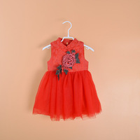 2017 New Spring Summer Korean Baby Girls Flowers Princess Dress Skirts Children Pink Red Dresses Kids