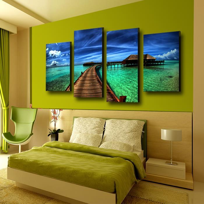4 panel Blue Sky Seascape Large HD Picture Canvas Prints Modern Home ...