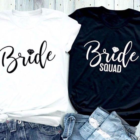Novia del diamante carta impresa camiseta novia diamante Squad junto Tops feminista regalo manera del algodón estética gráfico camisetas