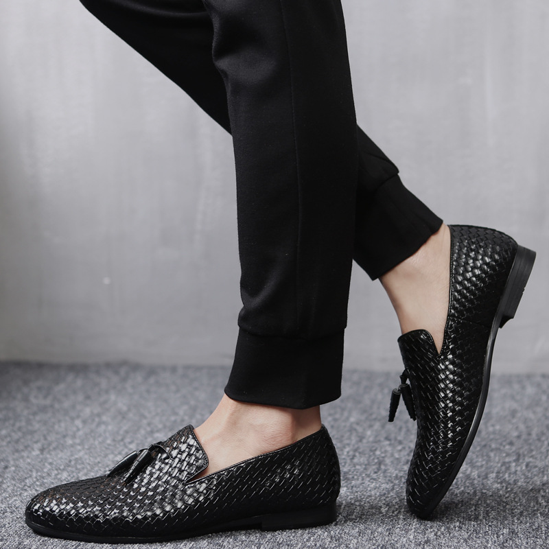 M anxiu Men Pointed Toe Business Knitting Shoes Fashion Casual Breathable PU Rubber Sole Flat Dress Shoes Wedding Shoes